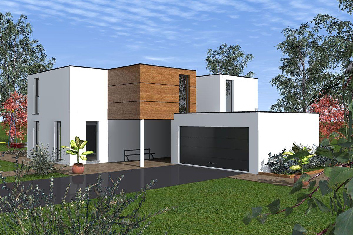 maison toit plat avec garage accolé