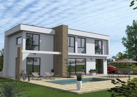 Construire maison toit plat 2 étages